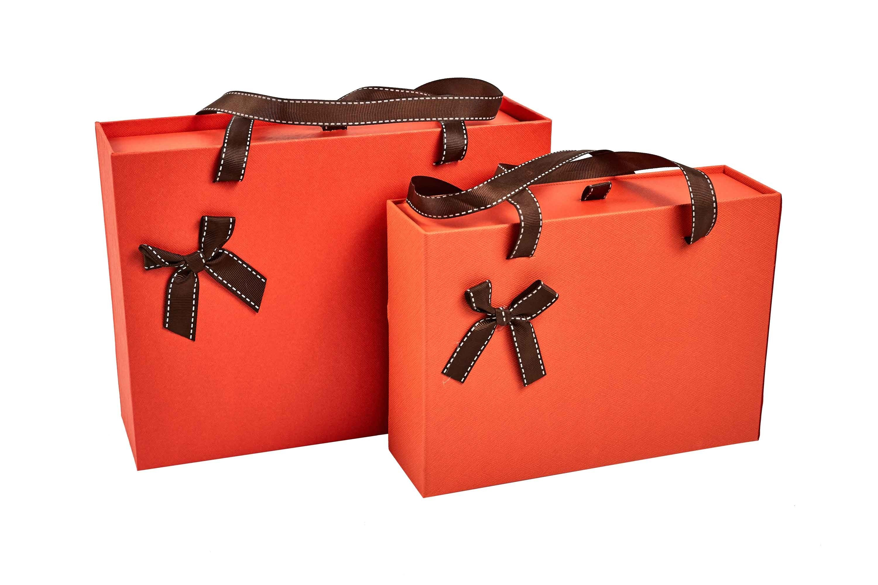 Orange Drawer Box with Brown Ribbon