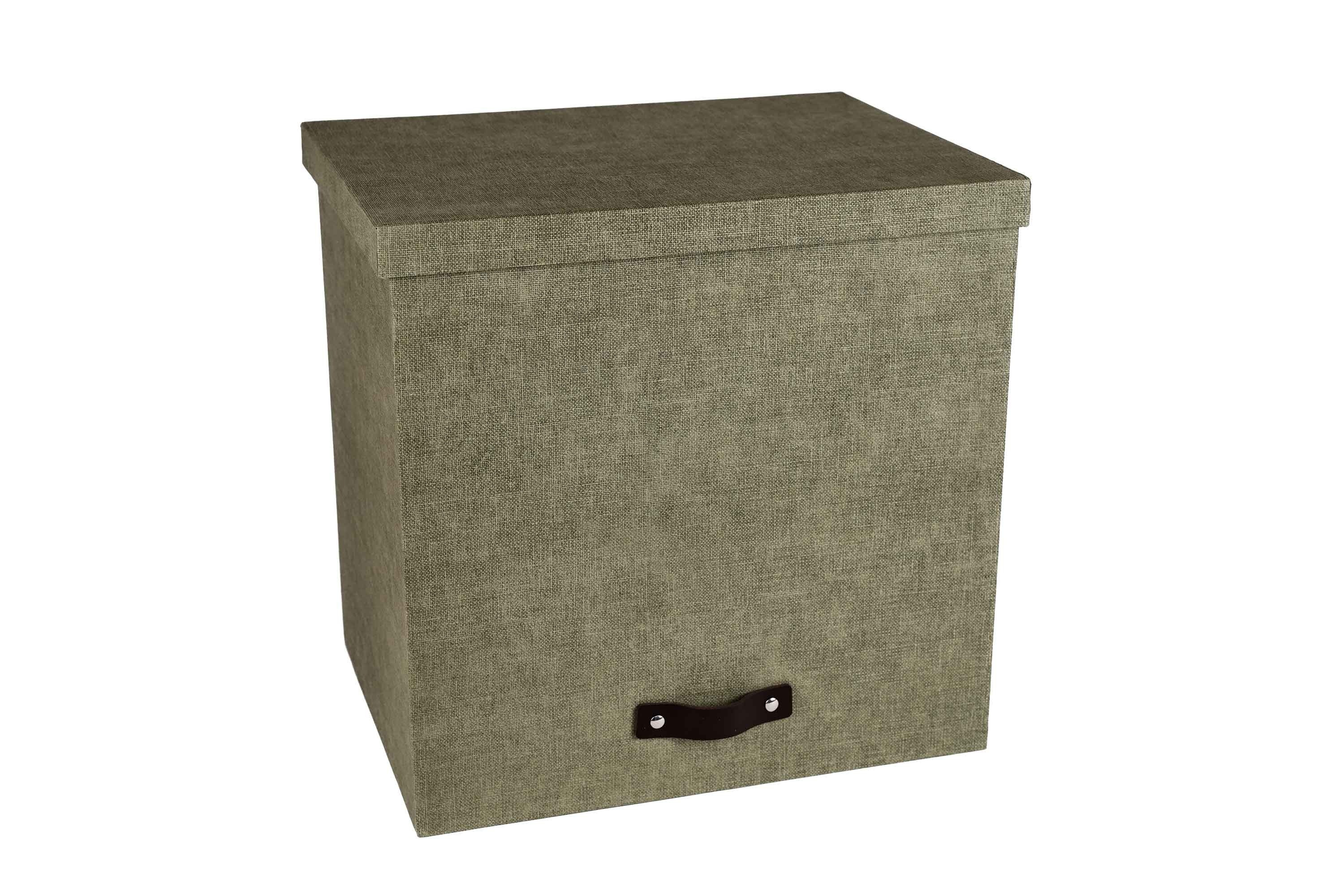 Marquee Large Storage Box With Lid - Olive Grey