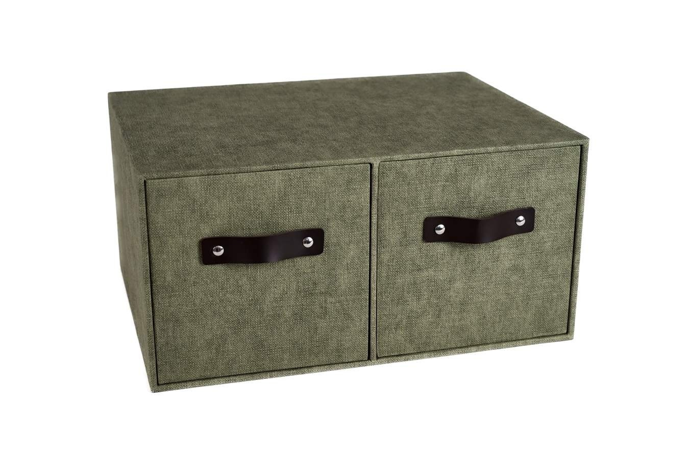 Marquee Double Drawers Storage Box - Olive Grey