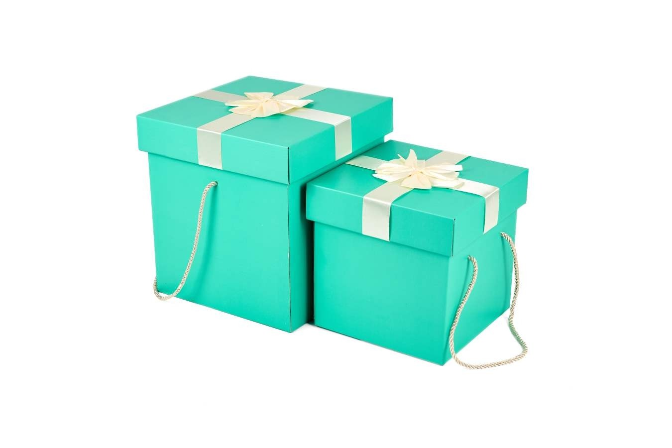 Iconic Blue Cube Size Gift Box with White Ribbon