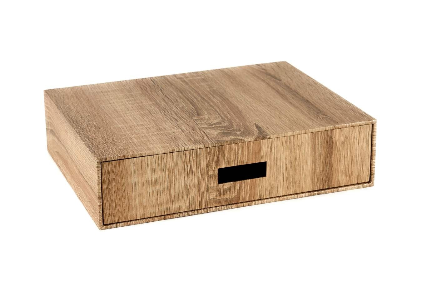 Zen Slim Drawer Box - Natural Wood