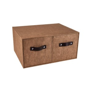 Marquee Double Drawers Storage Box - Brown